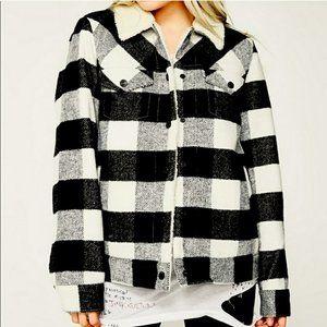 Levi's Plaid Sherpa Boyfriend Trucker Jacket Wool Blend New With Tags Warm Coat